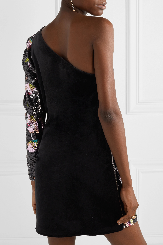 Self-Portrait One-sleeve sequined tulle and velvet mini dress