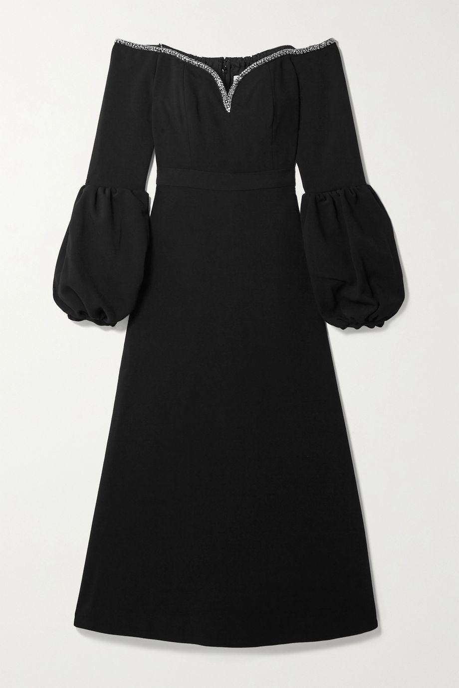 Self-Portrait Off-the-shoulder embellished crepe midi dress