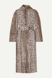 Jill belted leopard-print cotton-blend faux fur coat