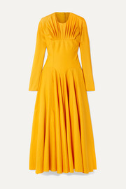 Emilia Wickstead Nasiba open-back gathered wool-gabardine midi dress