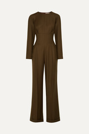 Kara pleated wool-garbadine jumpsuit