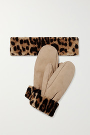 Leopard-print shearling mittens and headband set
