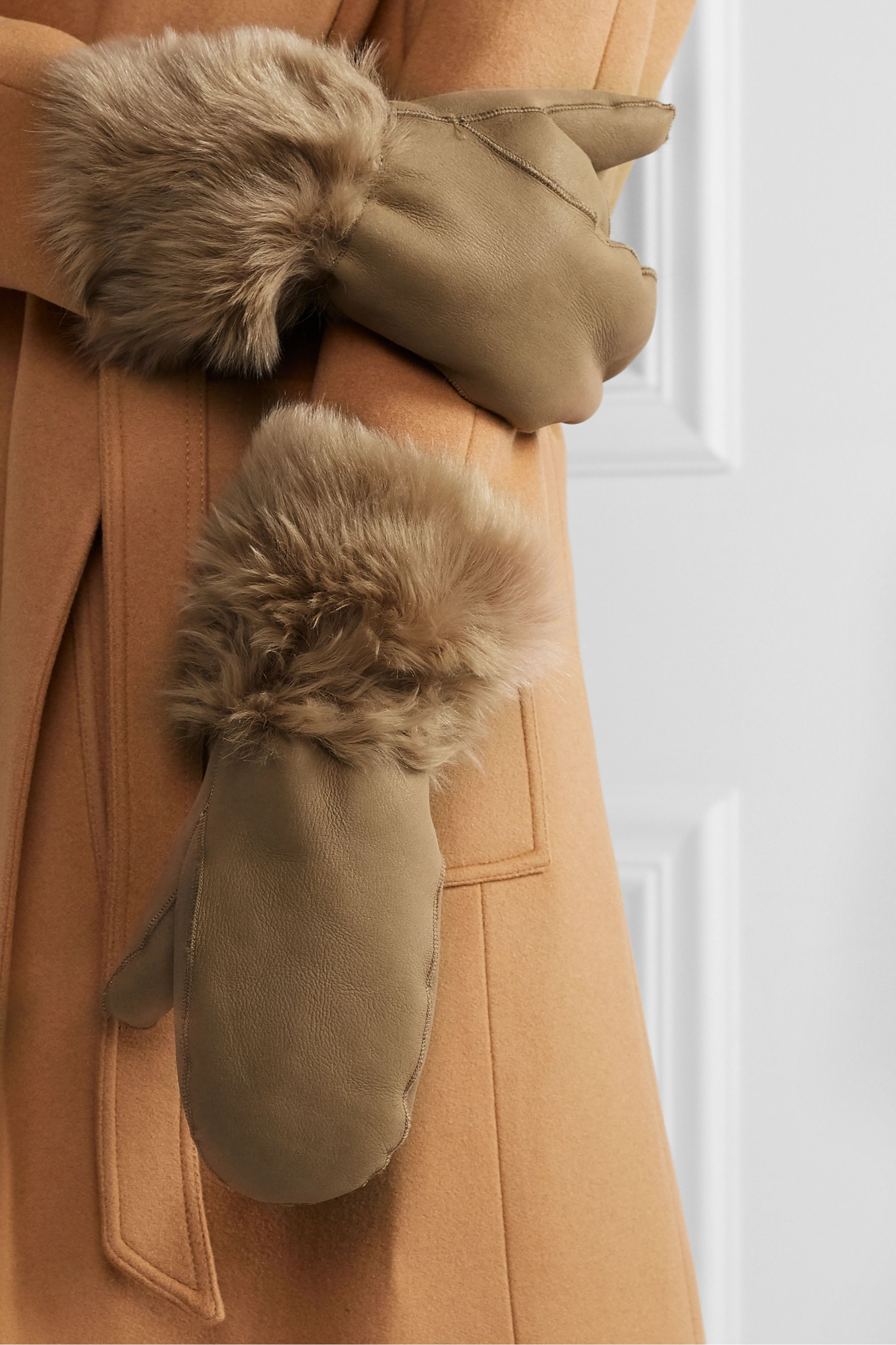 Yves Salomon Shearling mittens and scarf set