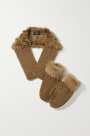 Shearling mittens and scarf set
