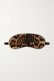 Yves Salomon Leopard-print shearling eye mask