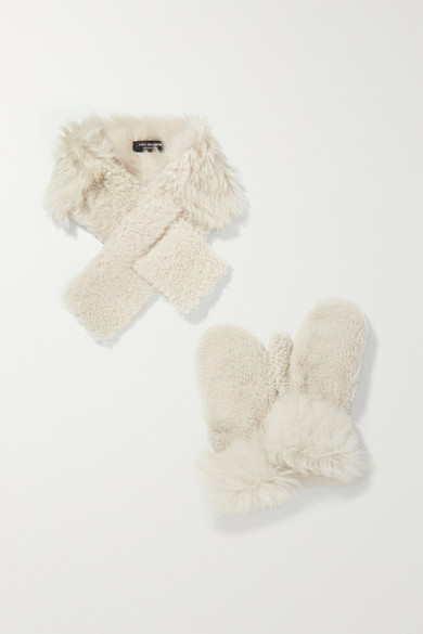 Yves Salomon Accessories Shearling mittens and scarf set