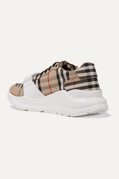 BURBERRY Canvases Regis checked cotton-canvas sneakers