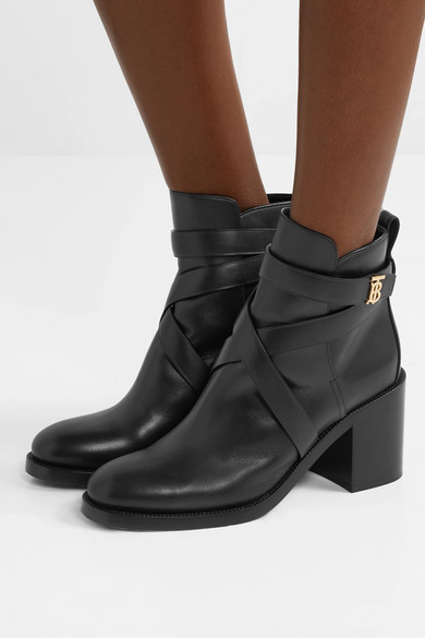 Logo Embellished Leather Ankle Boots by Burberry