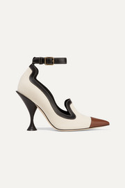 Leather-trimmed canvas pumps