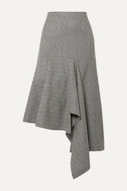 Balenciaga Asymmetric checked wool-jacquard midi skirt