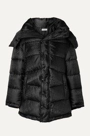 Balenciaga New Swing hooded embroidered quilted shell-jacquard coat