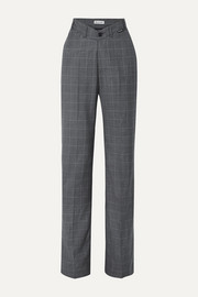 Balenciaga Checked wool and silk-blend wide-leg pants