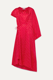 Balenciaga Typo draped asymmetric polka-dot silk satin-jacquard midi dress