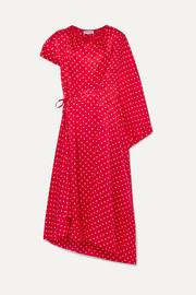 발렌시아가 Balenciaga Typo draped asymmetric polka-dot silk satin-jacquard midi dress
