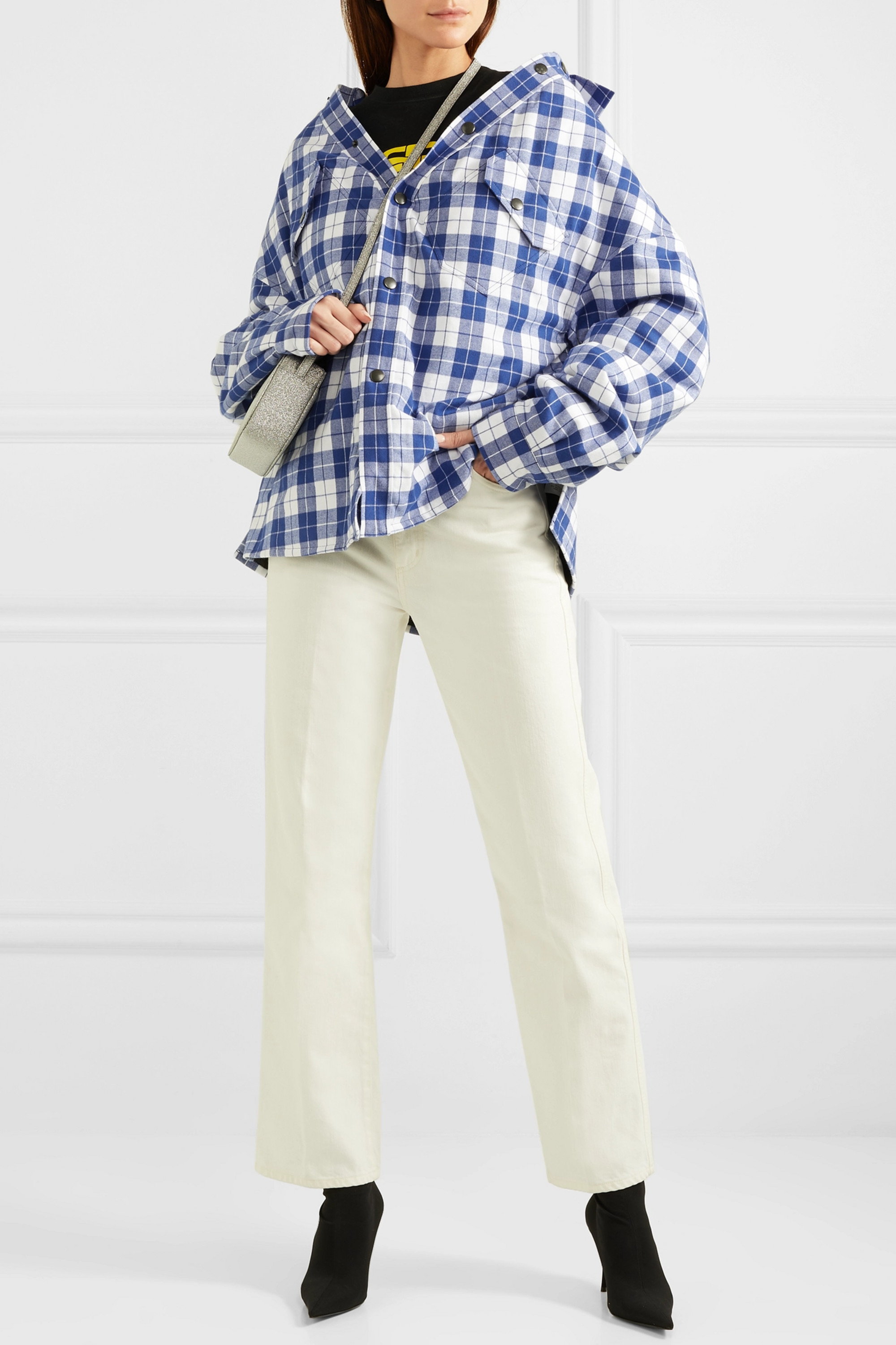 Blue Oversized checked quilted cotton