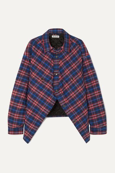 Balenciaga T-shirts Swing oversized padded checked cotton-flannel shirt