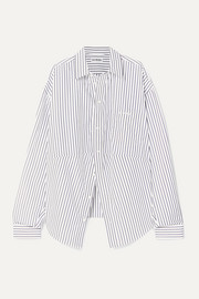 Balenciaga Swing oversized embroidered striped cotton-poplin shirt