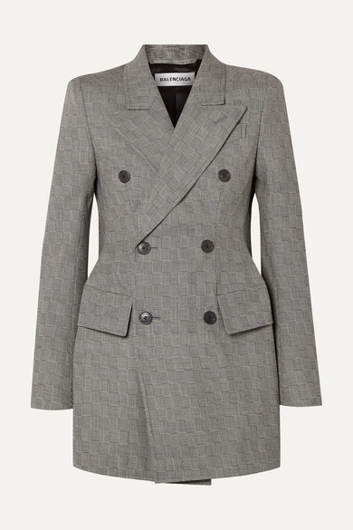 Hourglass Double Breasted Checked Wool Blazer by Balenciaga