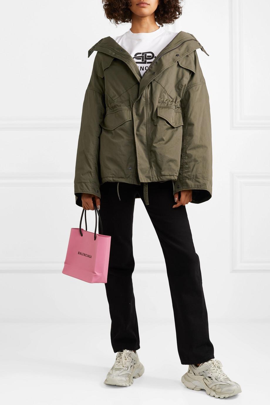 Balenciaga Swing oversized hooded cotton-twill jacket