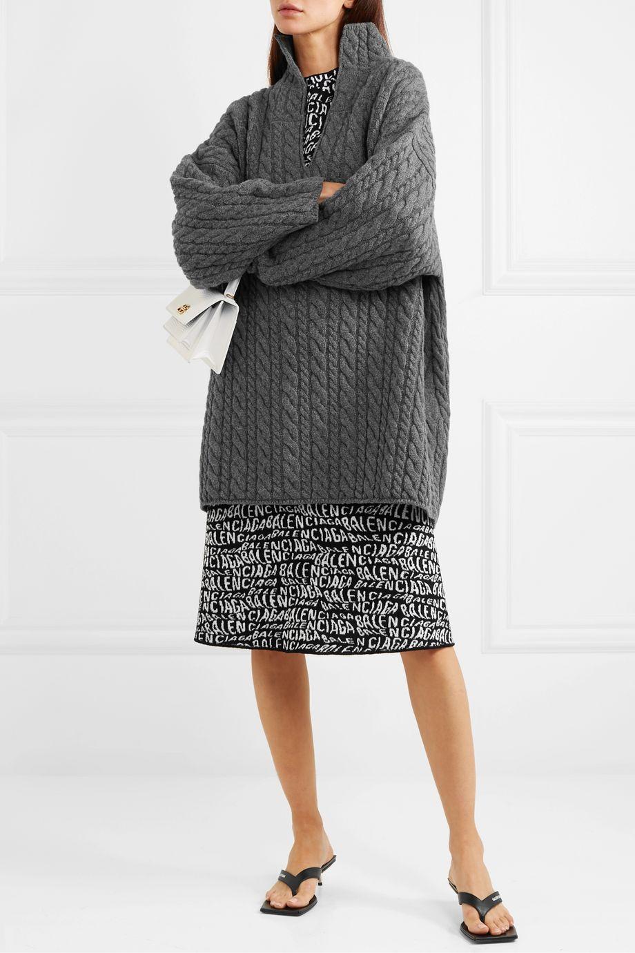 Balenciaga Pull oversize en laine à mailles torsadées