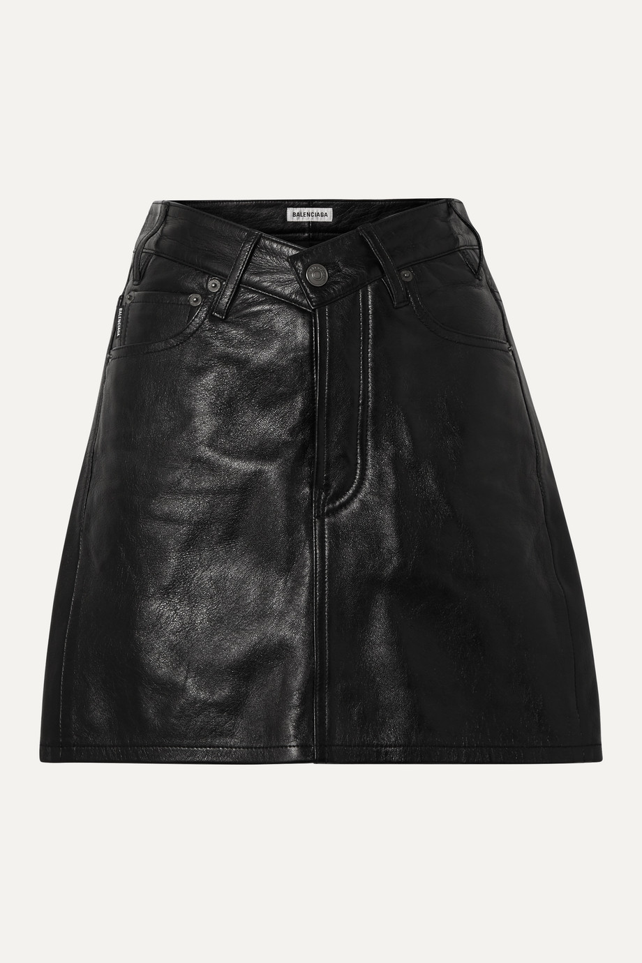 Balenciaga Textured-leather mini skirt