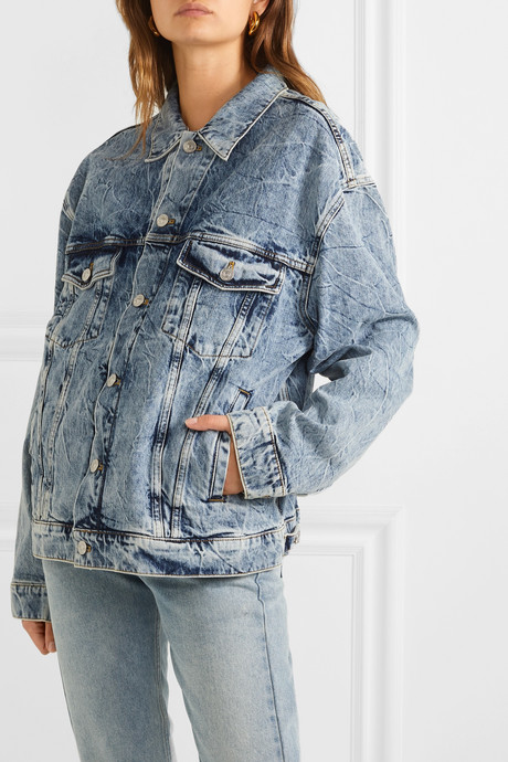 Oversized embroidered denim jacket