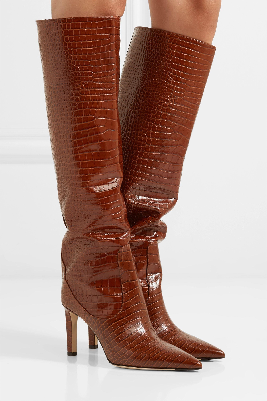 Jimmy Choo Mavis 85 croc-effect leather knee boots