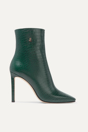 Minori 100 croc-effect leather ankle boots