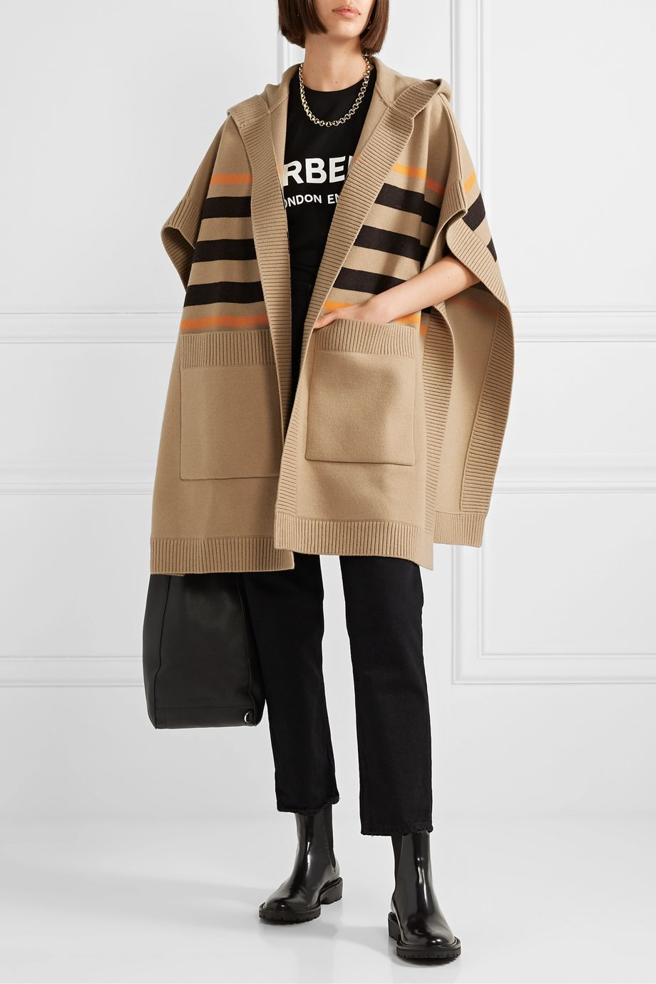 Burberry Wool-blend jacquard cape