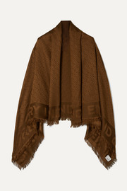Fringed silk and wool-blend jacquard scarf