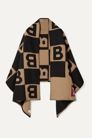 Appliquéd merino wool and cashmere-blend intarsia wrap