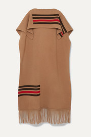Burberry Leather-trimmed fringed striped wool and cashmere-blend cape