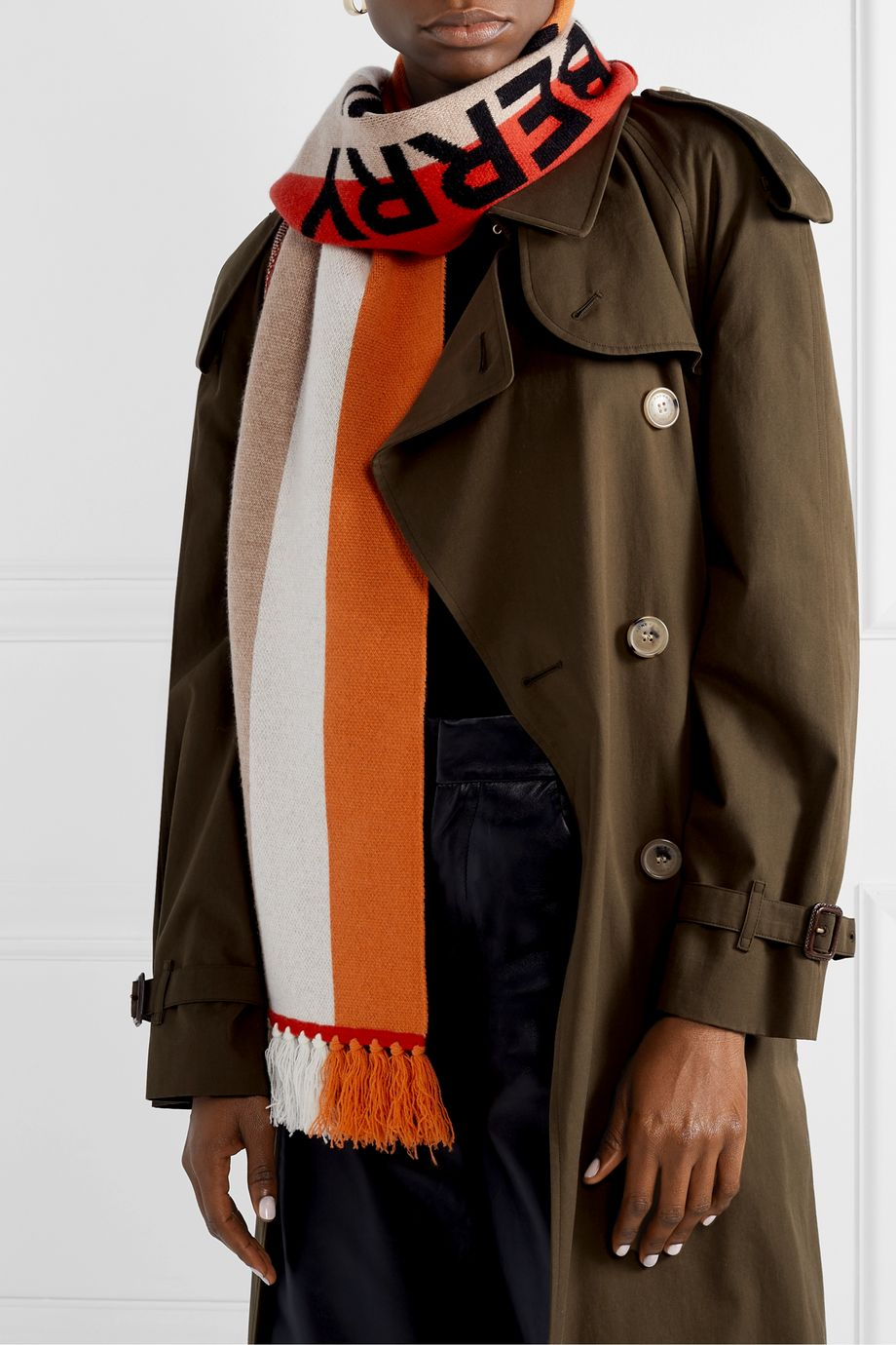 Burberry Fringed intarsia cashmere scarf