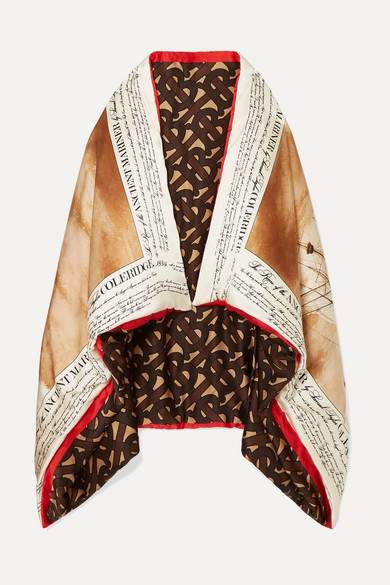 Burberry Accessories Padded printed silk-satin cape