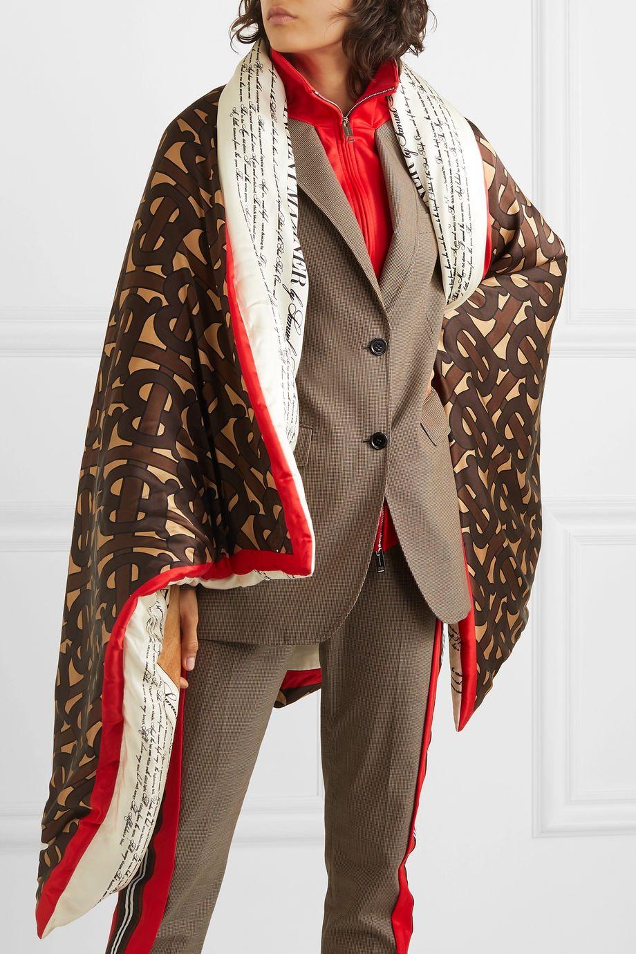 Burberry Padded printed silk-satin cape