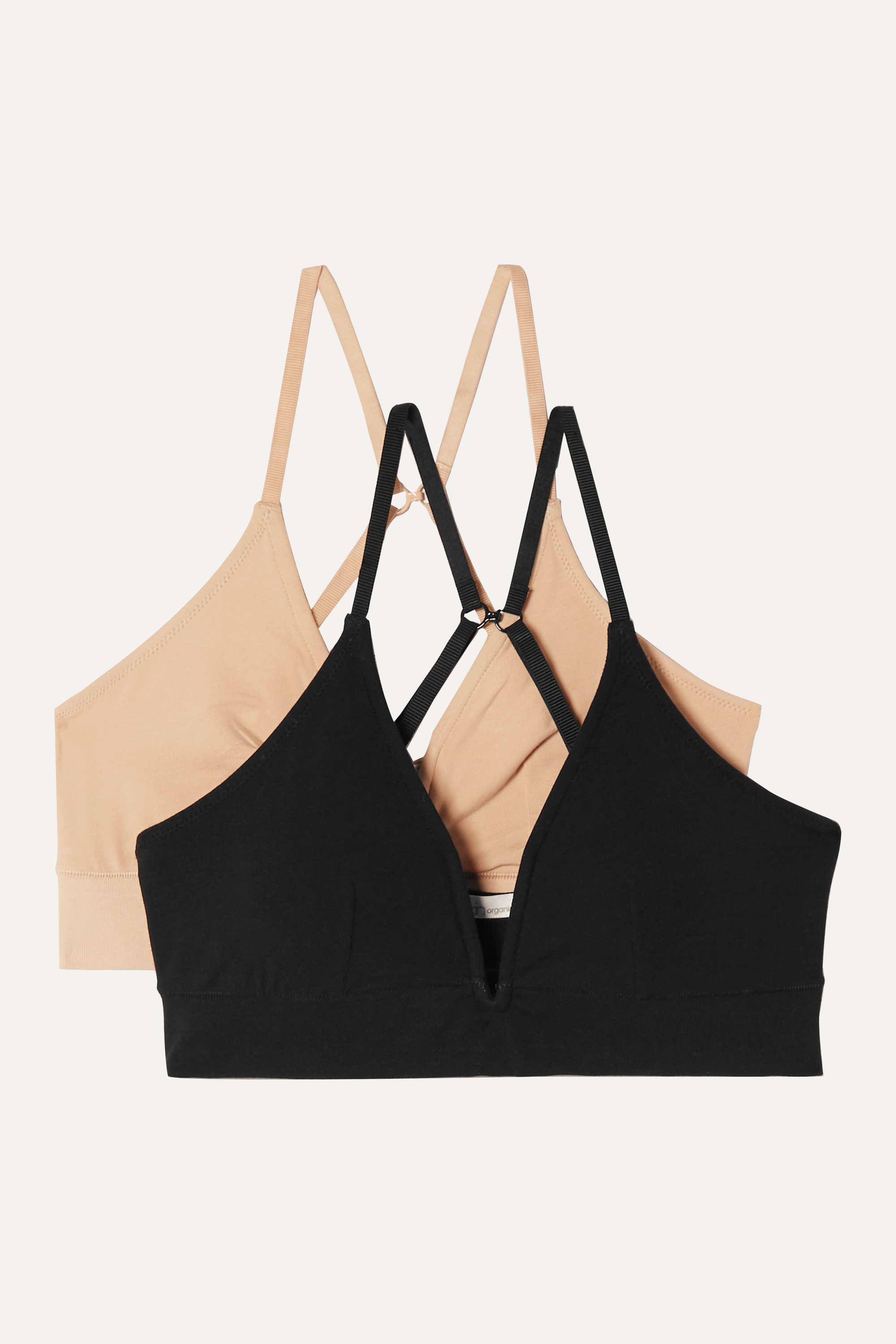 Skin Garcelle set of two organic Pima cotton-blend jersey soft-cup bras