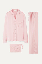 Washed silk-satin pajama set