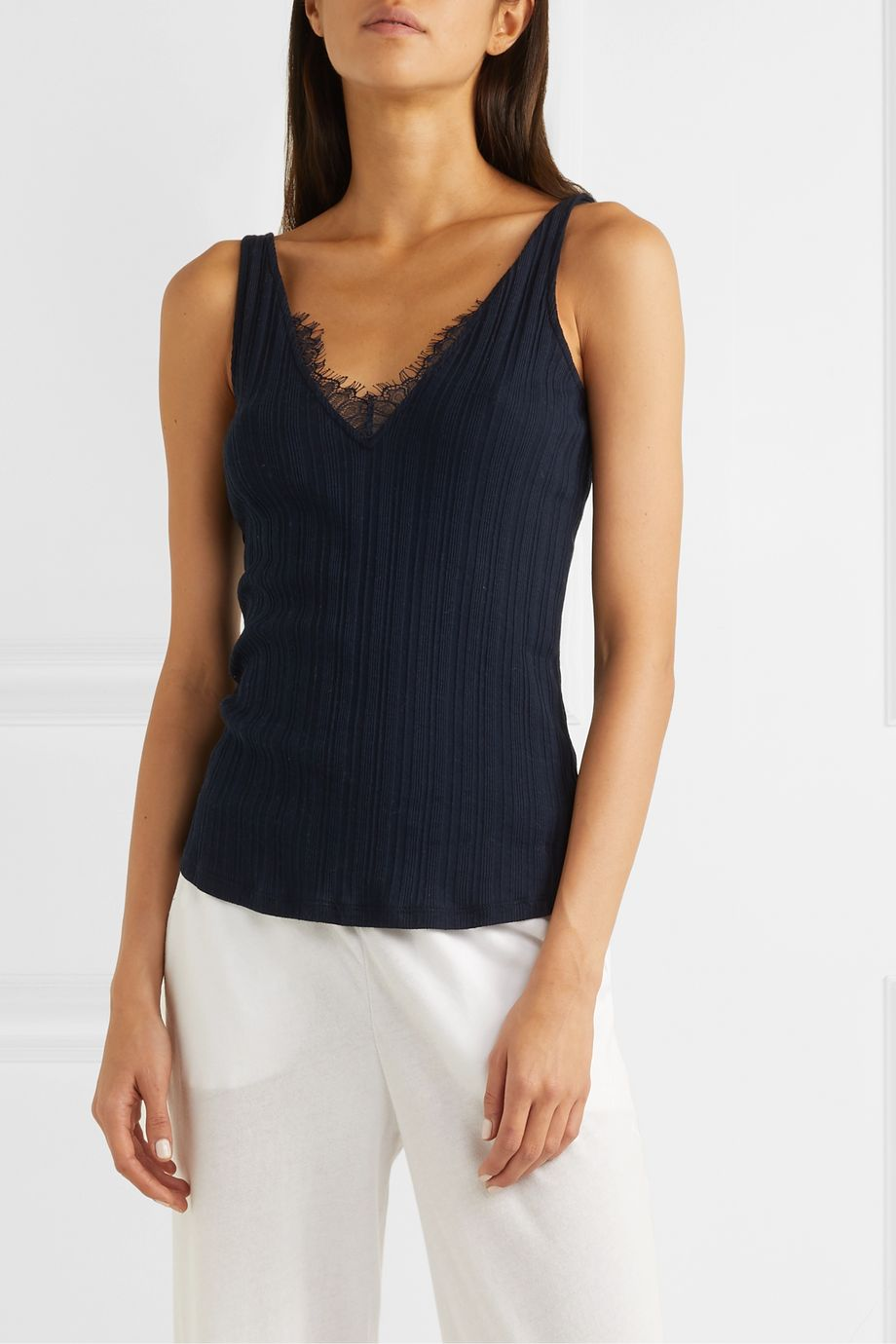 Skin Briana lace-trimmed ribbed Pima cotton-jersey tank