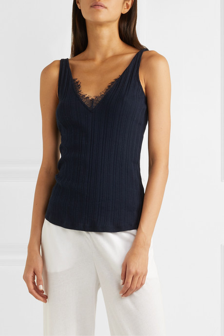 Briana lace-trimmed ribbed Pima cotton-jersey tank