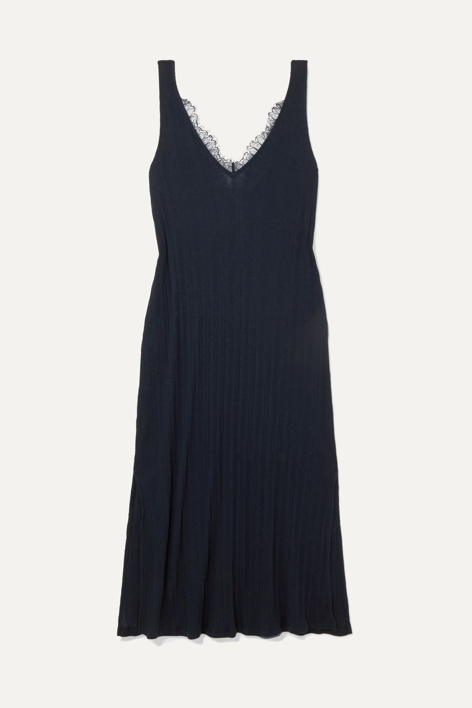 Skin Brelle lace-trimmed ribbed Pima cotton-jersey chemise