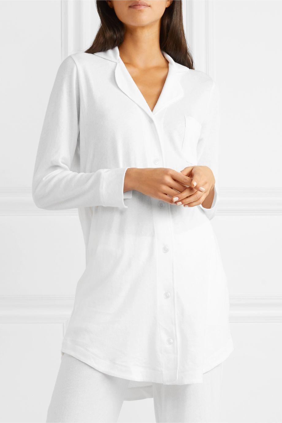 Skin Adrianna brushed Pima cotton-jersey pajama shirt