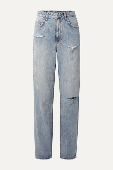 + Kendall Jenner Playback Distressed High Rise Straight Leg Jeans by Ksubi