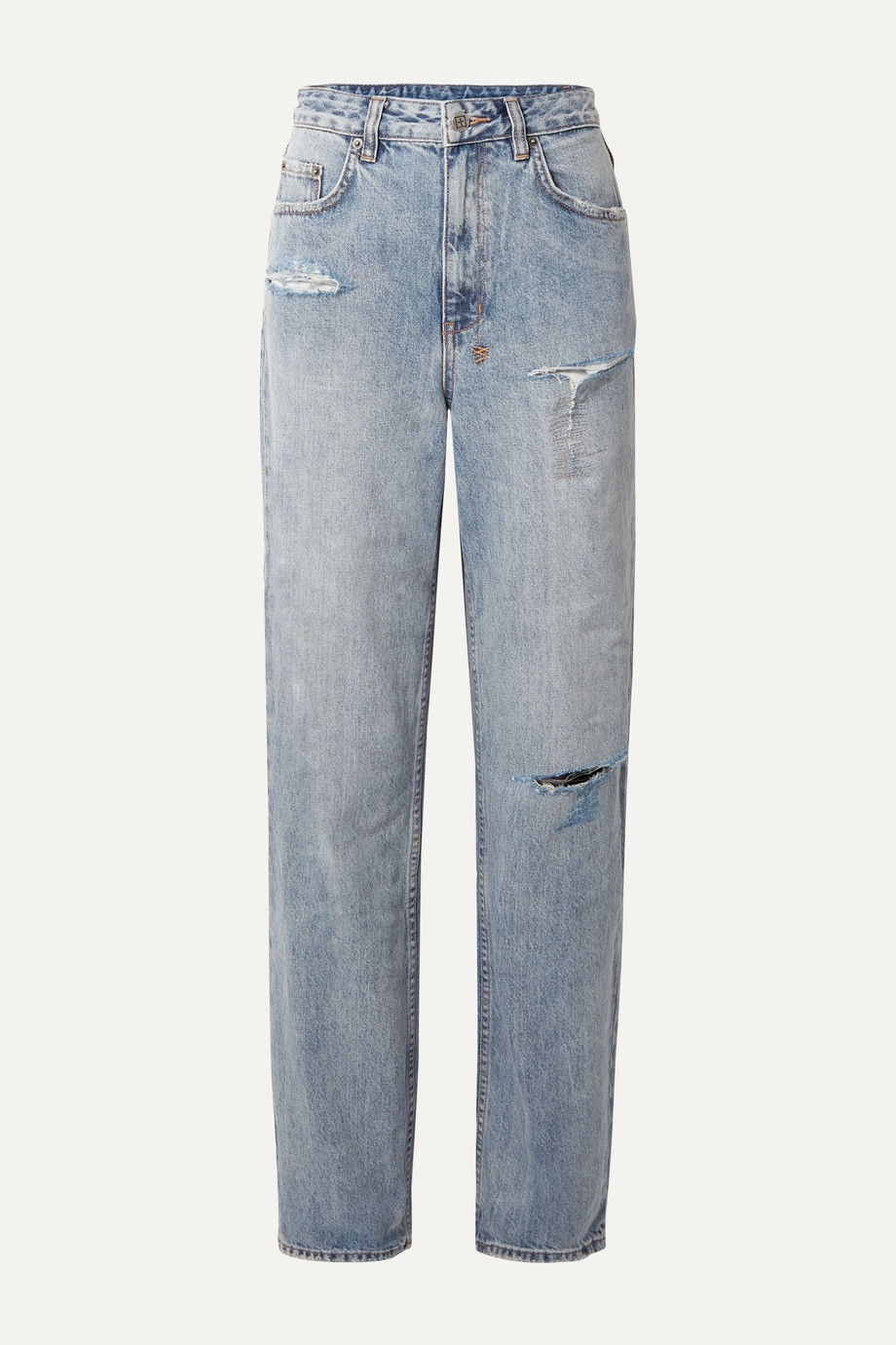 Exact Product: Kendall Jenner Playback Skream Trashed Flash Jeans, Brand: Ksubi x, Available on: net-a-porter.com, Price: $168