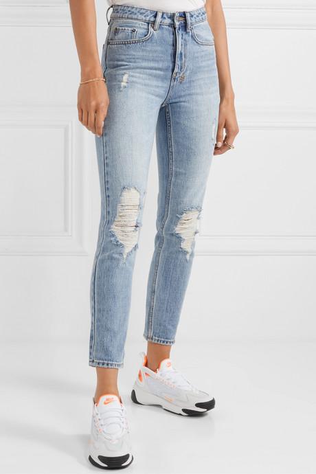 Slim Pin distressed high-rise skinny jeans