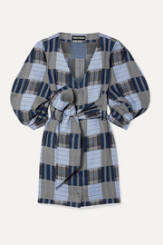 House of Holland Belted patchwork checked Lyocell mini dress