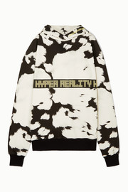House of Holland Oversized embroidered printed cotton-jersey hoodie