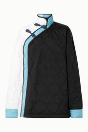 House of Holland Oversized color-block quilted shell jacket