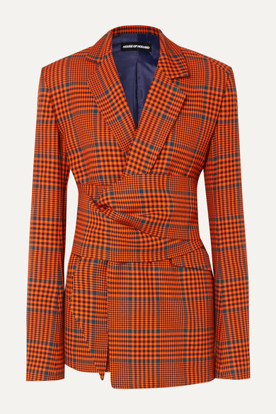 House Of Holland Blazers Knotted Prince of Wales checked wool-blend blazer