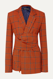 Knotted Prince of Wales checked wool-blend blazer