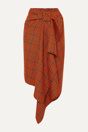 House of Holland Knotted asymmetric Prince of Wales checked wool-blend midi skirt